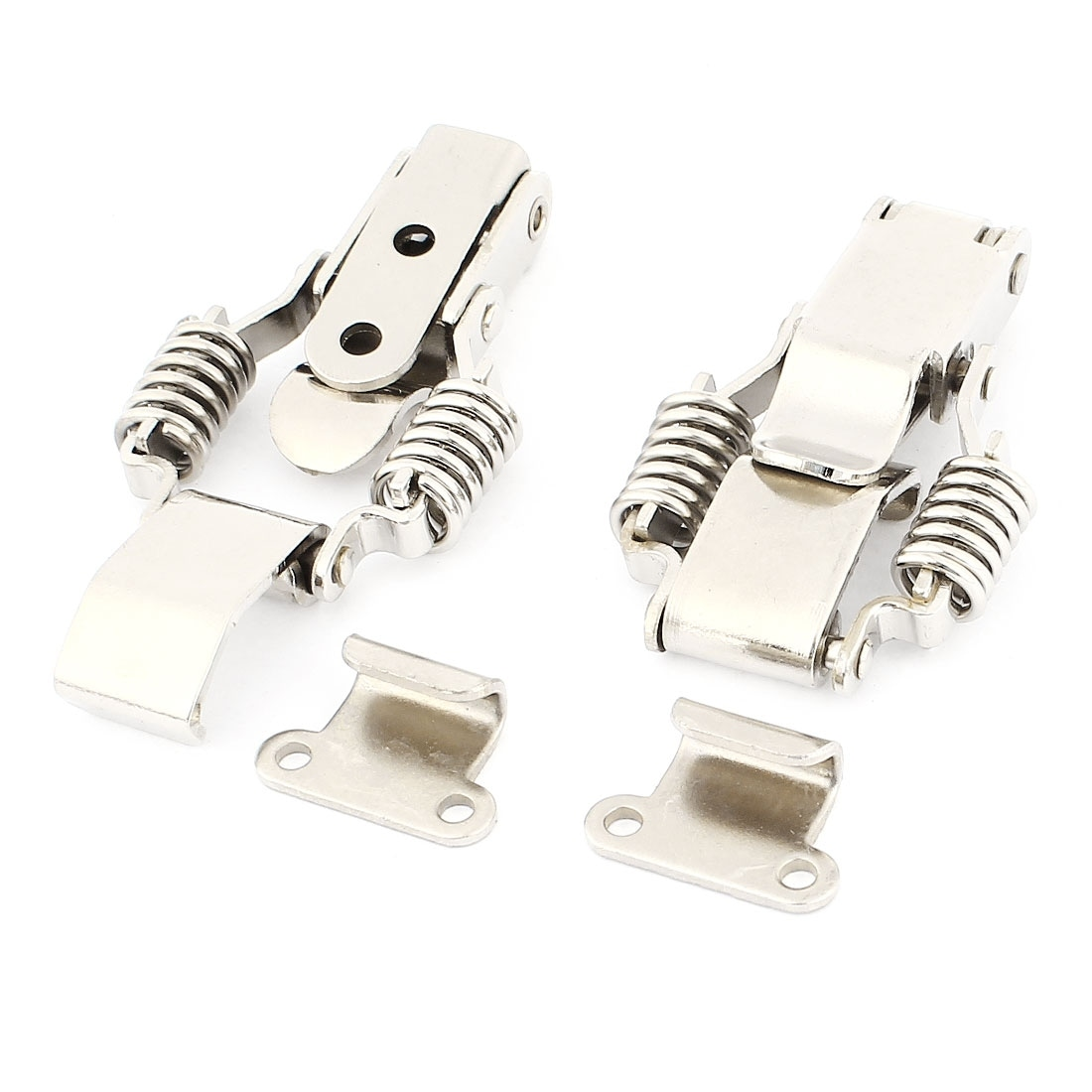 2 Sets Draw Compression Stainless Steel Silver Tone Toggle Latch Catch