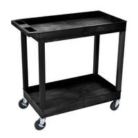Offex OF-EC11-B 2 Shelves Multipurpose Storage Plastic Tub Utility Cart - Black