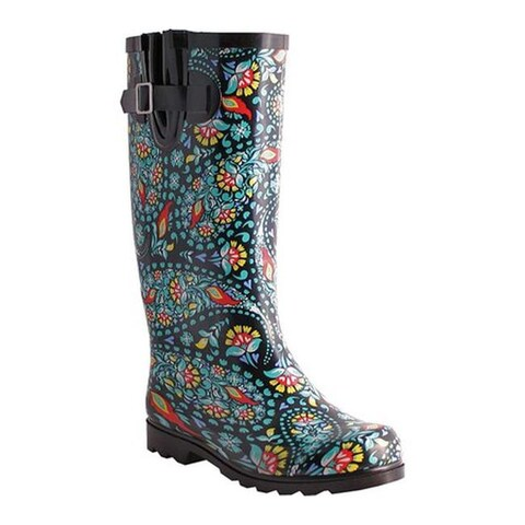 Nomad Women's Puddles Boot Black/Green Paisley