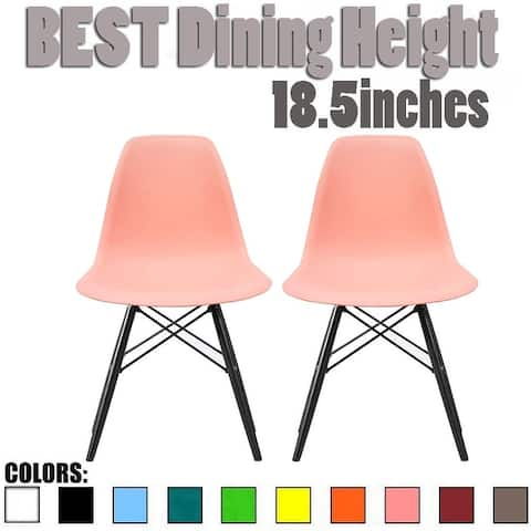 Set of 2 Modern Side Dining Chair Color With Dark Black Wood Legs For Kitchen Eiffel Dowel Work Office Restaurant