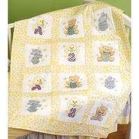 "Stamped Cross Stitch Quilt Blocks 9""X9"" 12/Pkg-ABC 123"