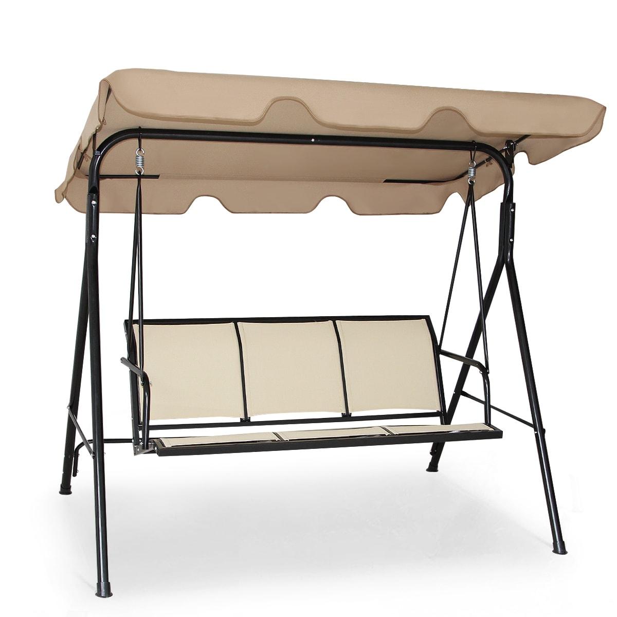 Costway Outdoor Patio Swing Canopy 3 Person Chair Hammock Brown