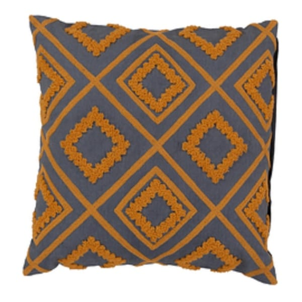 """18"""" Apricot Orange and Charcoal Gray Cotton Decorative Throw Pillow-Down Filler"""