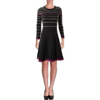 Jessica Howard Womens Petites Striped Knit Sweaterdress