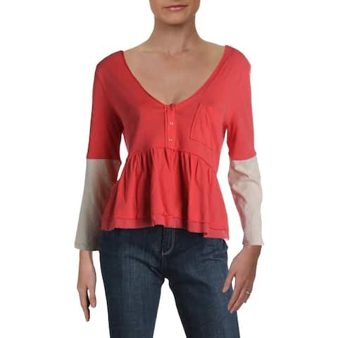 We The Free Womens Heart Of Mine Pullover Top Cotton Peplum