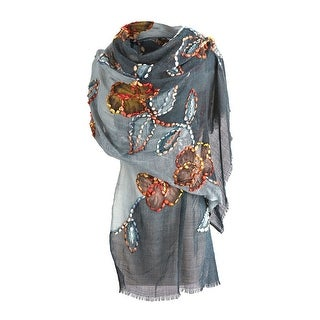 Link to Catalog Classics Women's Floral Embroidered Scarf - Black Grey Sheer Wrap Shawl - Blue - One size Similar Items in Scarves & Wraps