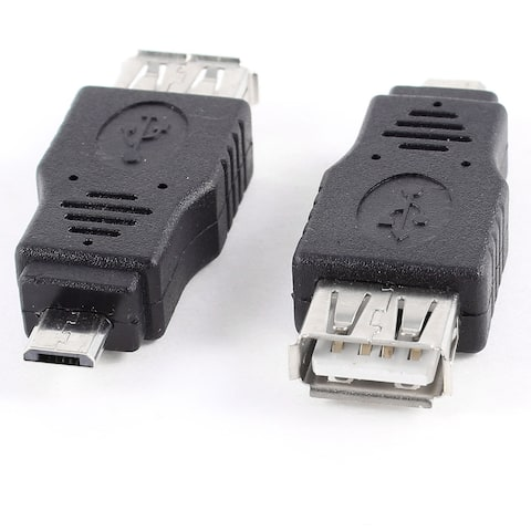 Unique Bargains 2pcs USB 2.0 Type A Female to Micro B Male Jack Adapter Converter Black
