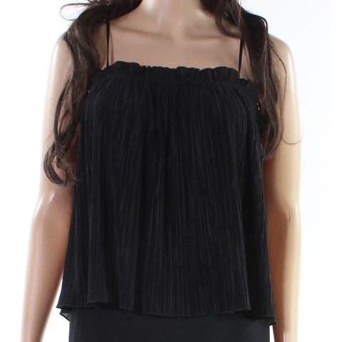 Madewell Black Womens Size Large L Pleated Ruffle Stretch Tank Top