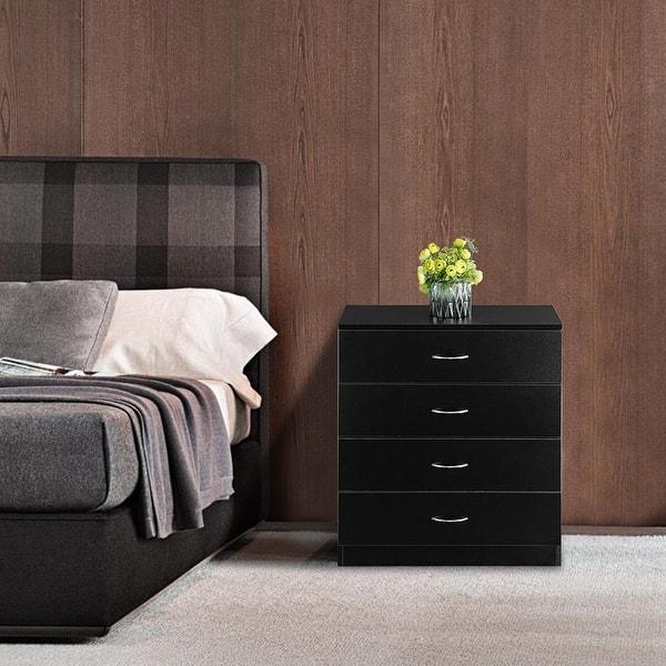Shop Bedroom Mdf Wood Simple 4 Drawer Dresser Nightstands Overstock 32084196