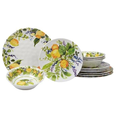 Certified International Lemon Zest 12 Pieces Melamine Dinnerware Set