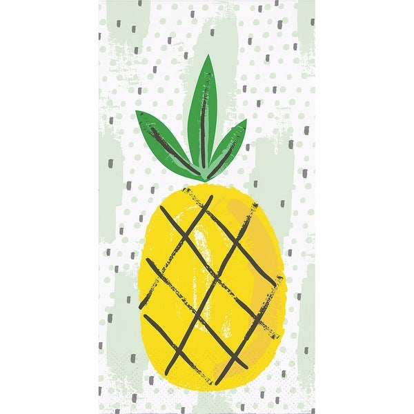 "Pack of 192 Summer Pineapple Fruit Pattern 3-Ply Party Napkins 8"" - N/A"