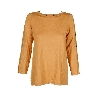 Alfani Yellow Sliver Embellished Pullover Sweater S