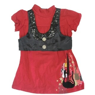 Disney Little Girls Red Black Hannah Montana Short Sleeve Shirt Vest Set 4-6X