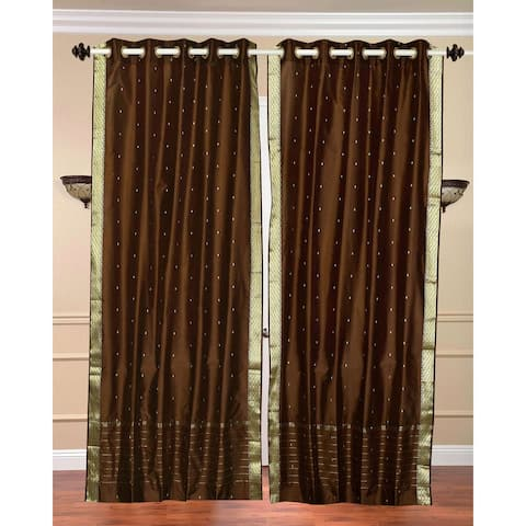 Brown Ring Top Sheer Sari Curtain / Drape / Panel - Piece