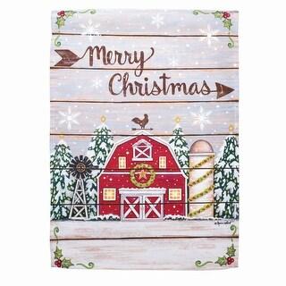 "18"" x 13"" Country Barn ""Merry Christmas"" Garden Flag"