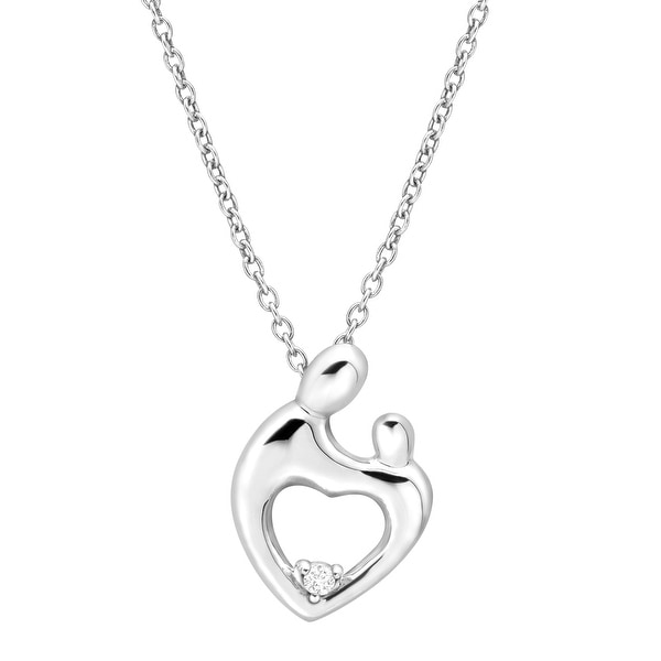 Mother & Child Pendant with Cubic Zirconia in Sterling Silver Plate - White
