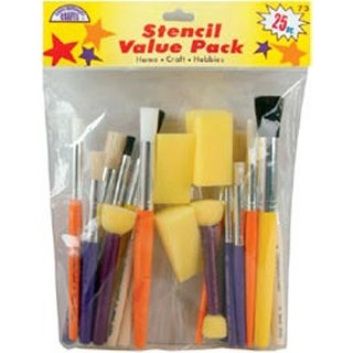 Stencil Brush Value Pack-25 Pieces
