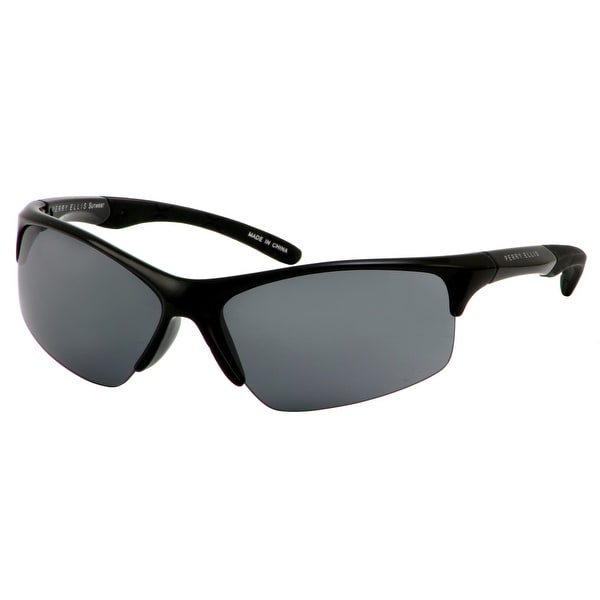 b5e438b5ac Shop Perry Ellis Mens Bottom Rimless Plastic Active Sunglasses Black  PE72-1