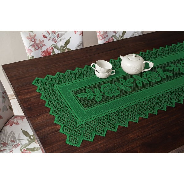 Table Runner Grega Design Brazilian Lace 19x62 Inches Green Color 100 Percent Polyester