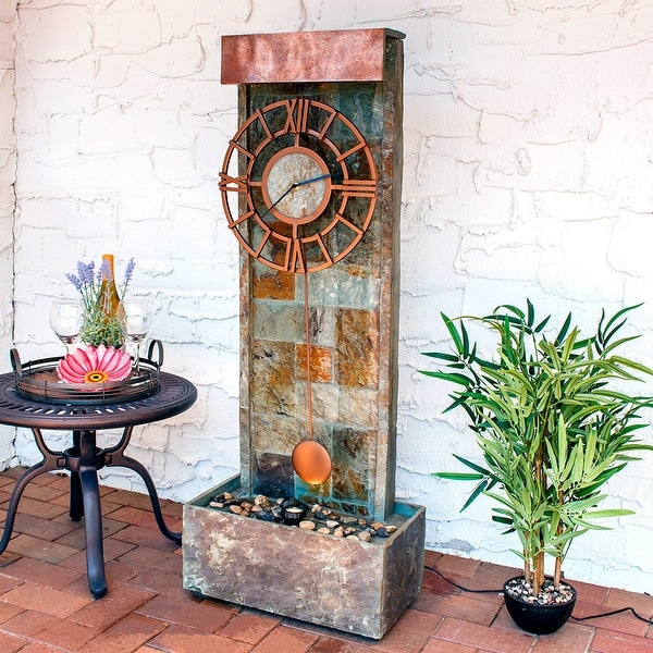 Sunnydaze Slate Clock Water Fountain with LED Spotlight - 49 Inch Tall