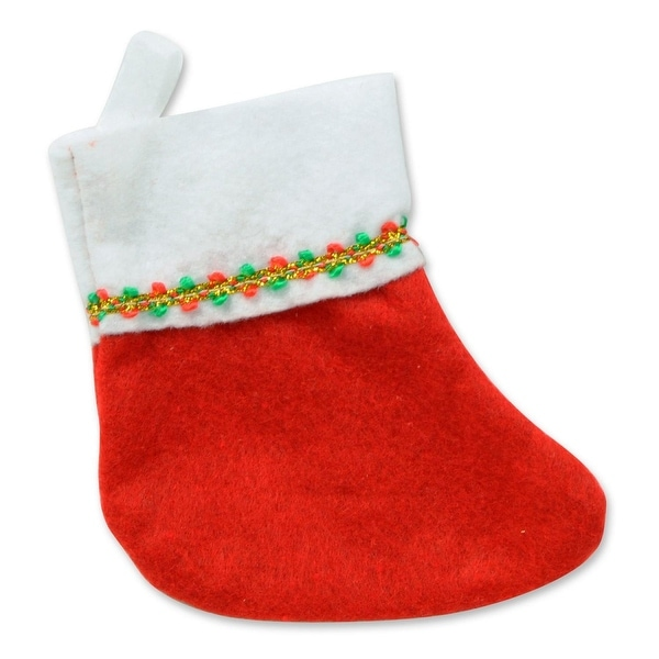 Club Pack of 72 Red and White Mini Stocking with Gold Accents Christmas Decorations 6""