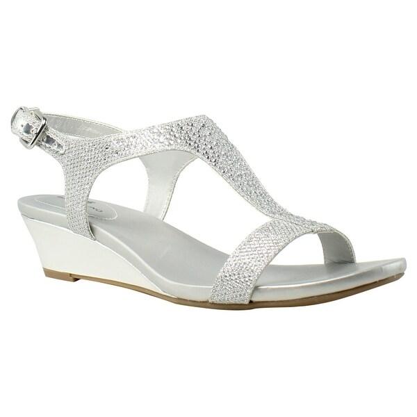 a6ab0e77636 Shop Bandolino Womens 25024228 Silver Ankle Strap Heels Size 6.5 ...