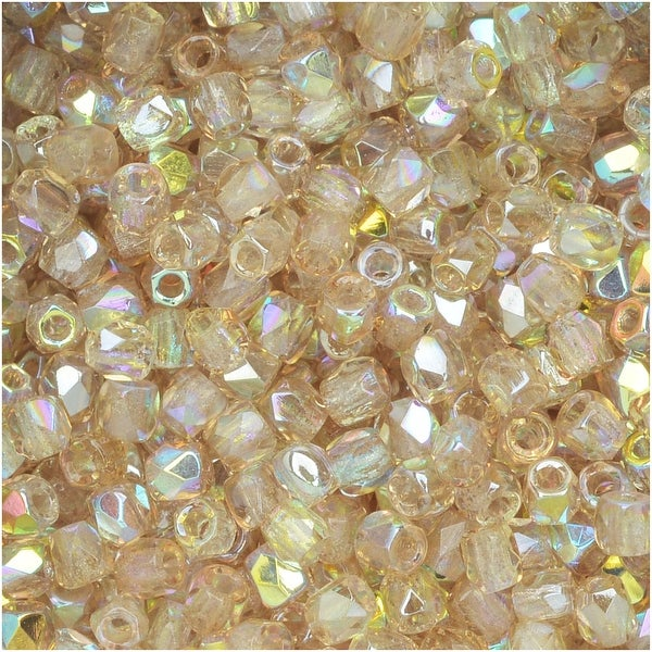 True2 Czech Fire Polished Glass, Faceted Round 2mm, 50 Pieces, Crystal Lemon Rainbow