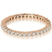 0.60 cttw. 14K Rose Gold Round Shared Prong Diamond Eternity Ring