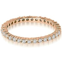 Petite 0.60 ct.tw 14K Rose Gold Round Shared Prong Stackable  Diamond Eternity Ring HI,SI1-2