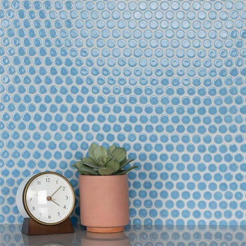 SomerTile 12x12.625-inch Penny Light Blue Porcelain Mosaic Floor and Wall Tile (10 tiles/10.74 sqft.)