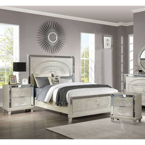 Furniture of America Luela Champagne 3-piece Bed and Nightstands Set
