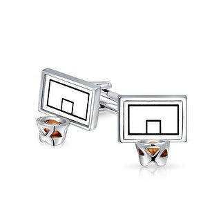 Bling Jewelry Basketball Backboard and Hoop Sports Mens Cufflinks Rhodium Plated