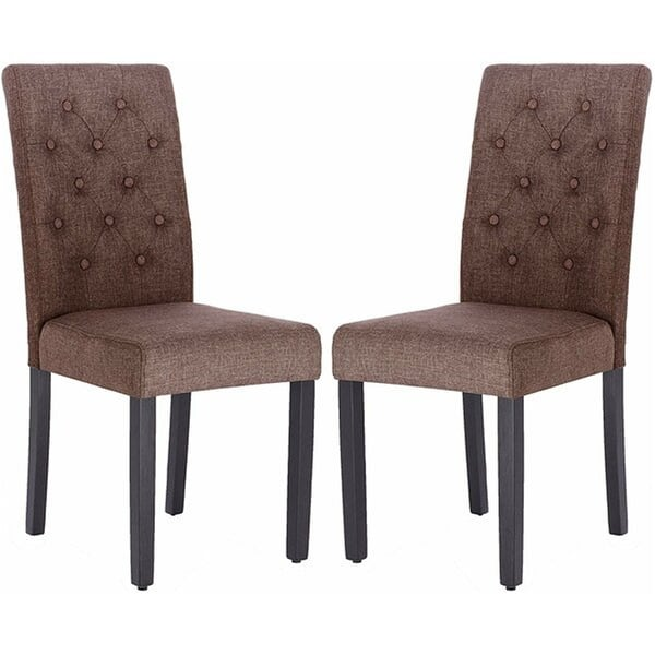Tufted Linen Upholstered Parsons Chair Set Of 2 Overstock 32338056