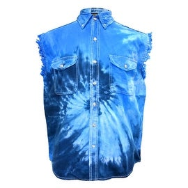 Men's Tie Dye Blue Camo Sleeveless Denim Shirt Motorcycle Biker Vest Chopper USA Camouflage (4 options available)