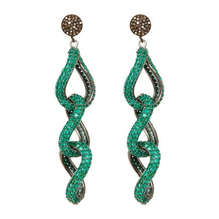 Pave Green Chalceedony and Diamond Layer EarringAsk a question$220.00