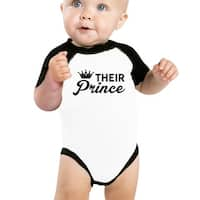 Their Prince Baby Boy Baseball Bodysuit Cute Raglan Baby Bodysuit