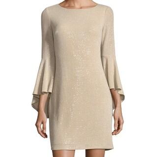 Eliza J Gold Womens Size 4 Metalkic Bell Skeeve Sheath Dress