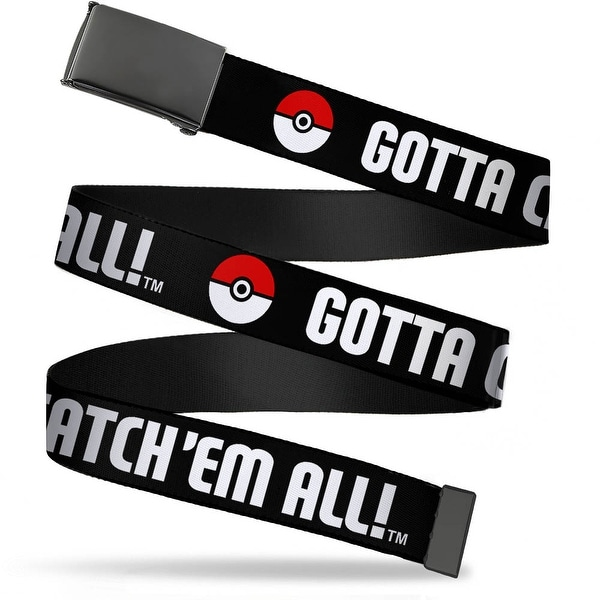 Blank Black Buckle Poke Ball Gotta Catch 'Em All Black White Red Web Belt