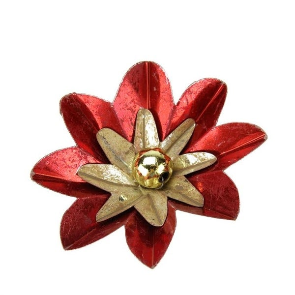 "2.75"" Distressed Shiny Red and Gold Flower Clip-On Christmas Tree Ornament"