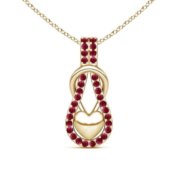 Angara Round Ruby Solitaire Infinity Knot Pendant oUp2SIauAR