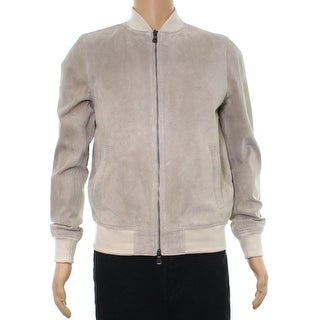 Tommy Hilfiger Beige Mens Size Large L Perforated Leather Jacket
