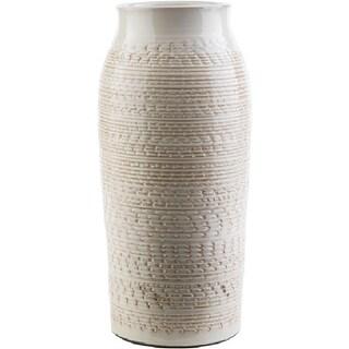 """15.35"""" Textured Piccoli Khaki Indoor/Outdoor Decorative Ceramic vase"""