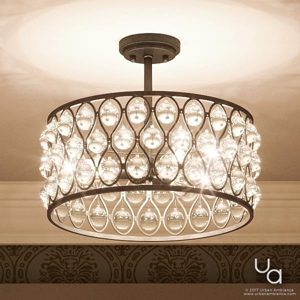 Shop Luxury Crystal Semi-Flush Ceiling Light, 11.75\