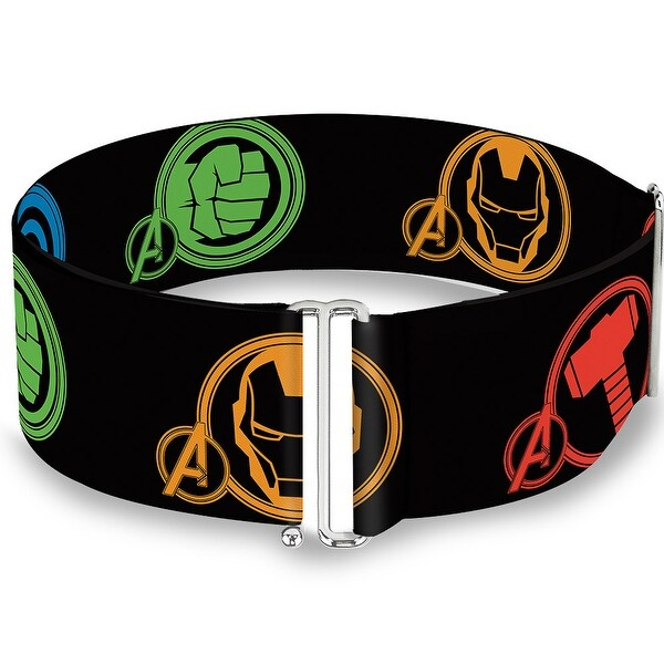 Marvel Avengers Superhero Logos Black Multi Color Cinch Waist Belt ONE SIZE