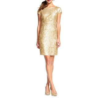 Adrianna Papell Short Sleeve Sequin Sheath Cocktail Dress