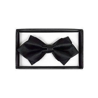 Men's Black Solid Diamond Tip Bow Tie - DBB3030-45