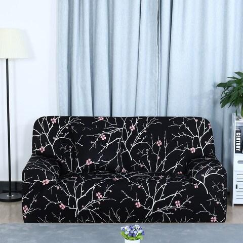 Unique Bargains Black Plum Blossom Pattern L-Shaped Stretch Sofa Slipcovers (1 2 3 Seater)