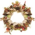 "18"" Autumn Harvest Decorative Artificial Berry Leaves Acorns Pinecones and Burlap Wreath - Unlit - Thumbnail 0"