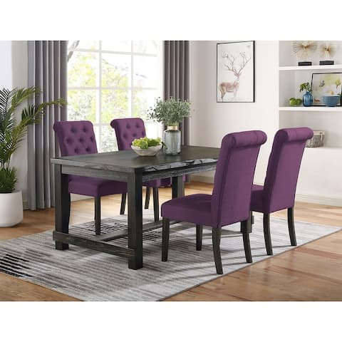 Leviton Antique Black Finished Wood Dining Set, Table with Four Chair
