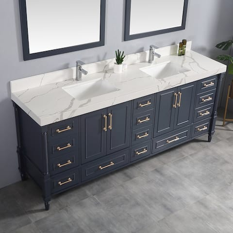 84 in. W x 22 in . D Aberdeen Double Bowl Sink Bathroom Vanity with 2 in Quartz Countertop